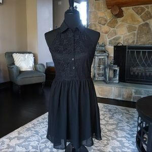 Brand New Forever 21 Black Lace Button Up Dress